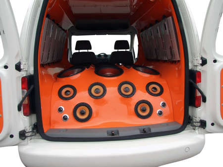 van interior with power music audio system