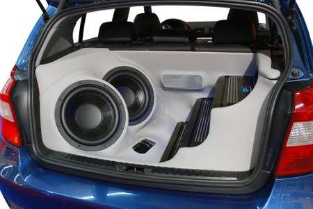 reproductive technology: coche de potencia del sistema de audio de m�sica Foto de archivo