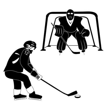 ice slide: hockey silhouette vector Illustration