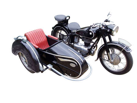 oldtimer: oldtimer motorcycle with trailer isolated