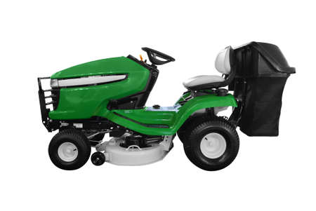 green lawn mower isolated