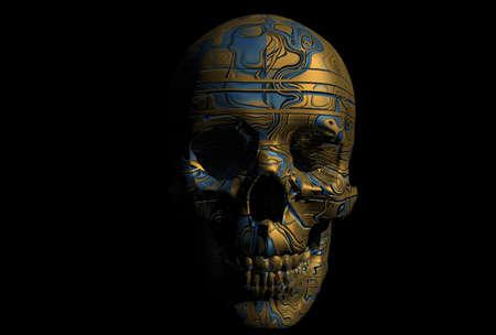 cyborg skull 3d illustration illustration