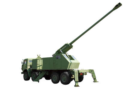 long range: long range self-propelled howitzer isolated Stock Photo