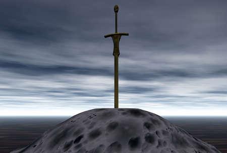 la espada en la piedra Foto de archivo - 5145692