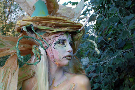 body paint: fairy girl face and body paint