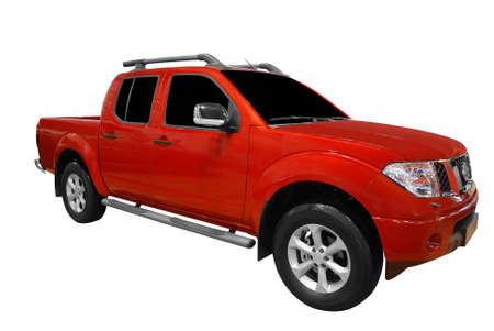 camioneta pick up: pick-up rojo aislado Foto de archivo