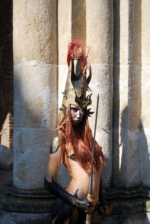 warrior girl: girl warrior with spear