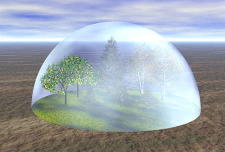 greenhouse effect: save the forest 3d illustration