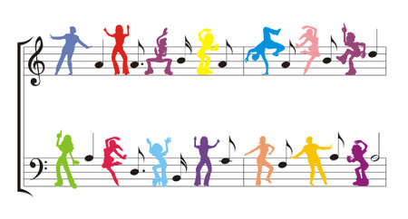 color dancers silhouette with notes vector illustration