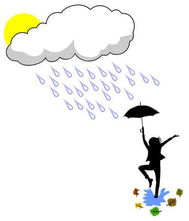 scène met dansen op het regen meisje silhouet illustratie vallen