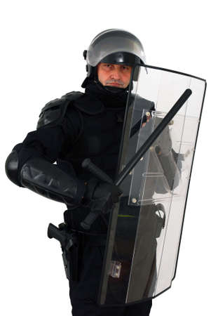 policeman with full anti riot equipment