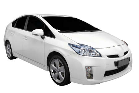 new motor car: white hybrid car isolated Stock Photo
