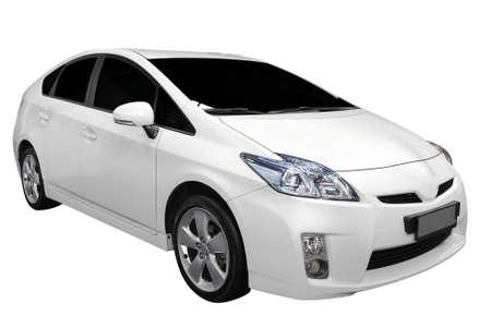 witte hybride auto geïsoleerd Stockfoto
