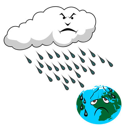 global warming: acid rain and planet Earth vector illustration