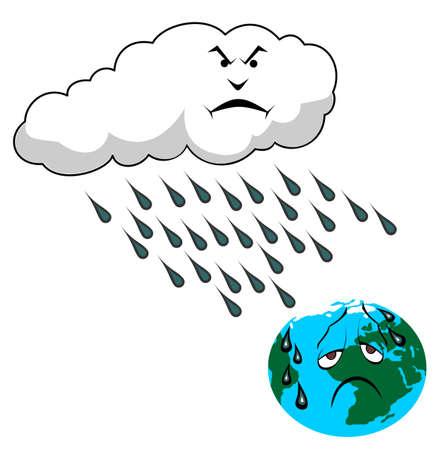 lluvia acida: Ilustraci�n de vectores de lluvia �cida y el planeta tierra