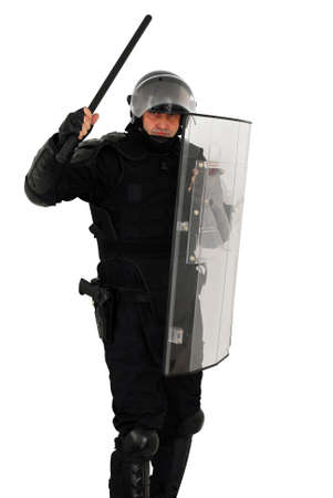 t policeman attacking isolated Stock Photo - 5899687