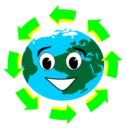 recycle symbol vector: planet earth with recycle symbol vector illustration Illustration