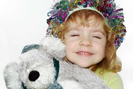 little girl with teddy-bear gift Stock Photo - 6110210