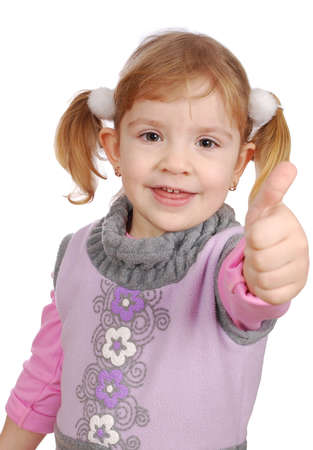 little girl with thumb up photo