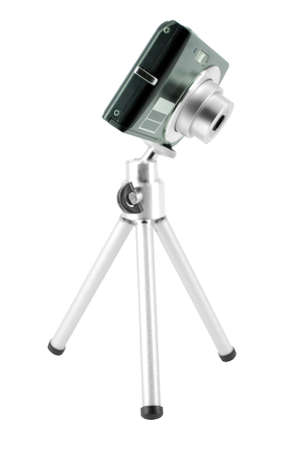 tripod mounted: digital camera mounted on tripod Stock Photo