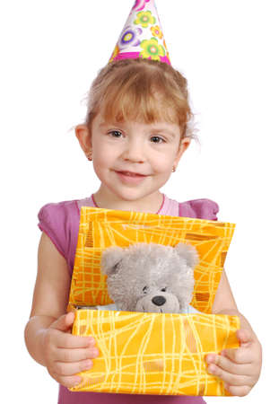 little girl with birthday gift photo
