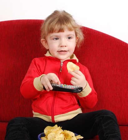 little girl watching tv photo
