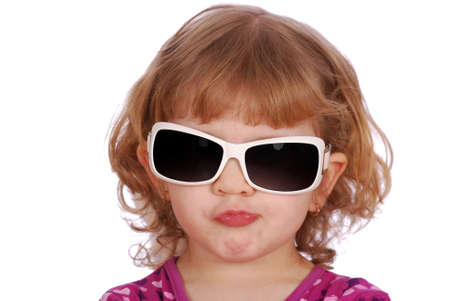 little girl with big sunglasses photo