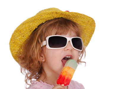 little girl with hat sunglasses and ice cream photo