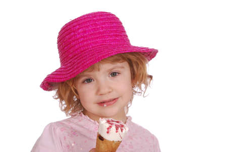 little girl with hat and ice cream photo