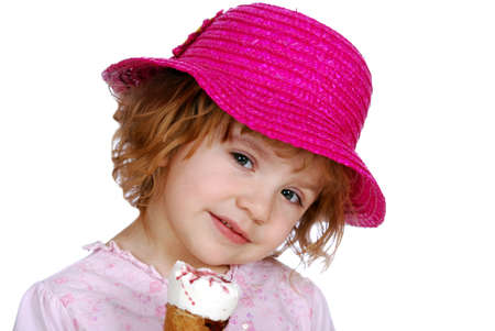 little girl with red hat and ice cream photo