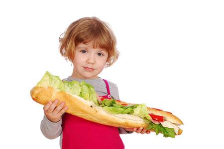 little girl with big sandwich  photo