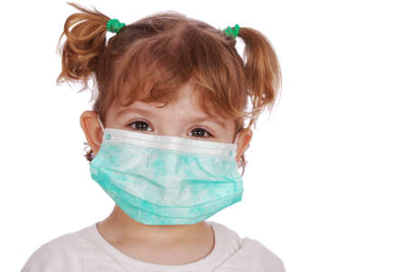 pandemic: little girl doctor in mask