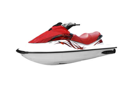 personal watercraft: fast red and white jet ski isolated