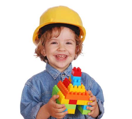 beauty little girl with yellow helmet Stock Photo - 7033705