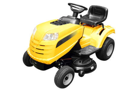yellow lawn mower isolated photo