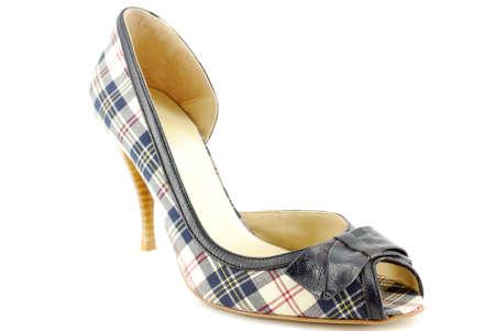 open toe: woman plaid open toe shoe