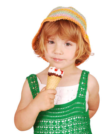 beauty little girl with ice cream photo
