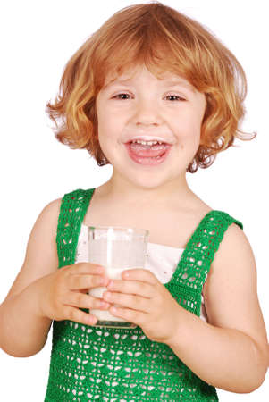 happy little girl with glass of milk photo