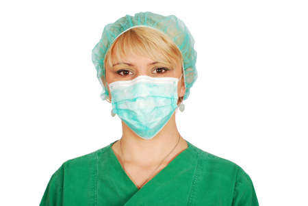 woman doctor with mask photo