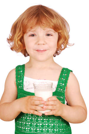 beauty little girl with glass of milk photo
