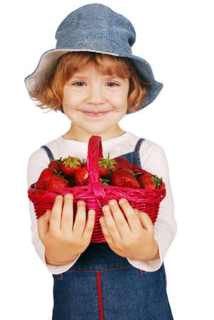 beauty little girl with strawberries Stock Photo - 7244816