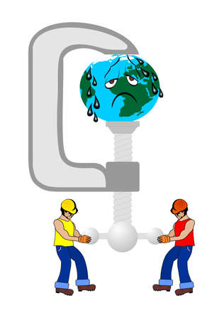 weighted: oil workers and planet earth