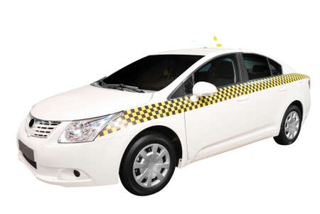 yellow taxi: taxi car isolated Stock Photo
