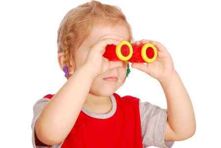 little girl with binoculars photo