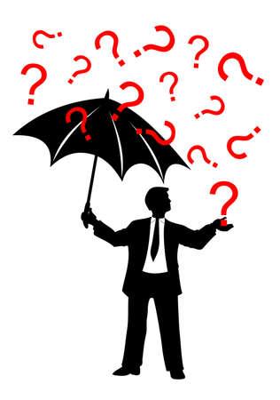 question mark: Mann mit Sonnenschirm und Fragezeichen Regen