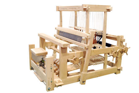 weft: wooden loom isolated