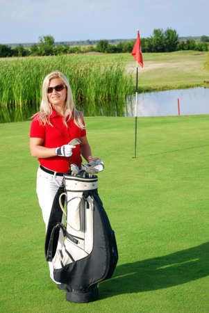 girl on golf field photo
