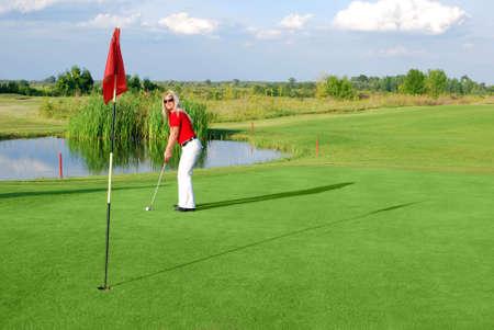 beauty girl play golf photo