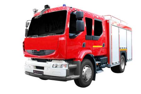 camion pompier: vue de face de camion isol� de feu.
