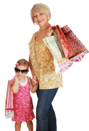 mother and daughter with shopping bags photo
